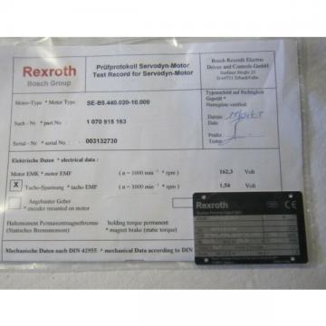 BOSCH REXROTH SERVO MOTOR SE-B5.440.020-10000 (SEB544002010000)